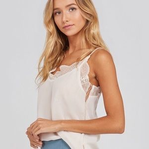 NEW! Ivory Lace Trimmed Cami, Lace Trim Silk Top
